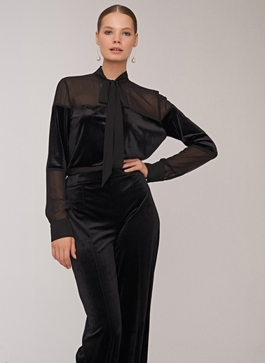 People By Fabrika Kadife Detaylı Gömlek Siyah